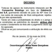Botafogo suspende temporariamente cobrança de R$ 35 milhões da Odebrecht