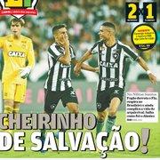 Jornais registram vitória do Botafogo com provocação ao Flamengo; 'O Globo' esconde