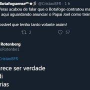 Torcida do Botafogo avisa sobre contratação, e dirigente admite não saber: 'Pior que parece ser verdade'