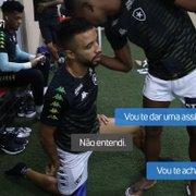 VÍDEO   Bastidores da vitória do Botafogo tem 'premonição' de Kanu para Caio Alexandre e promessa de jantar