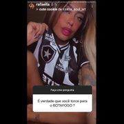 Irmã de Neymar, Rafaella reafirma torcer pelo Botafogo e posa com camisa recente
