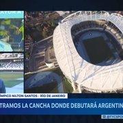TV argentina visita estádio do Botafogo e destaca gramado ruim para a Copa América: 'Longe do ideal'