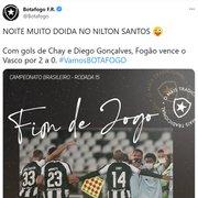 Botafogo provoca Lisca após vitória sobre o Vasco: 'Noite muito doida no Nilton Santos'