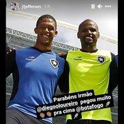 Ídolo do Botafogo, Jefferson parabeniza Diego Loureiro por atuação contra o Confiança: 'Pegou muito'