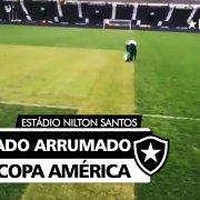 Copa América divulga vídeo de reparos no gramado do Estádio Nilton Santos antes de Brasil x Chile