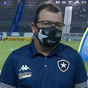 'Precisamos ter tranquilidade para não criar nenhum monstro aqui dentro', diz Enderson após derrota do Botafogo