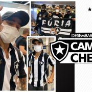Autógrafo, foto com bandeira da Fúria e alô para torcida do Botafogo: veja como foi a chegada de Rafael ao Rio