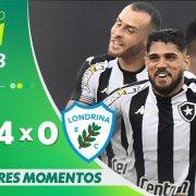 VÍDEO | Gols e melhores momentos da vitória do Botafogo sobre o Londrina por 4 a 0