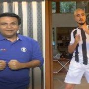 Contagiou legal! Narrador Dandan (ao vivo) e camisa 7 Rafael fazem 'Dancinha do Gordin' em goleada do Botafogo