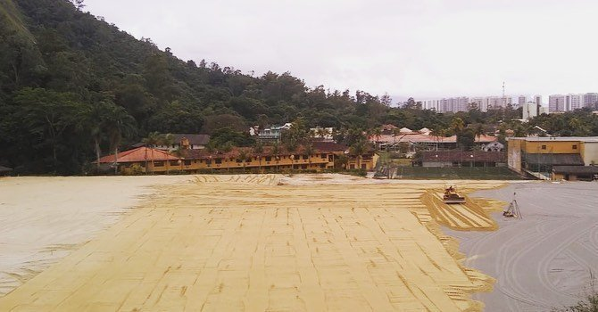 Obras nos campos do novo CT Centro de Treinamento do Botafogo (Divulgação/Empreiteira Crol)