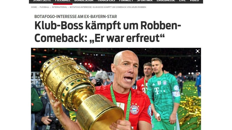 Imprensa internacional repercute com destaque interesse do Botafogo no craque Arjen Robben