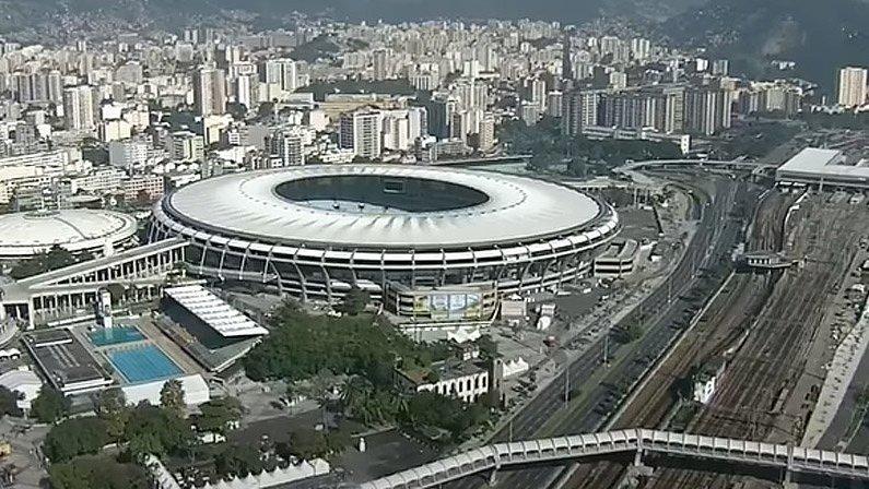 Vista aérea do Maracanã, palco principal do Campeonato Carioca