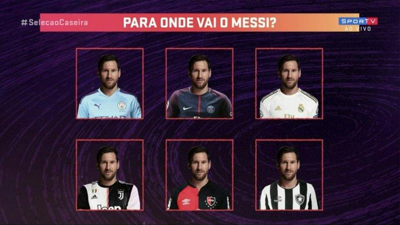 Messi já apareceu com a camisa do Botafogo em montagem no SporTV