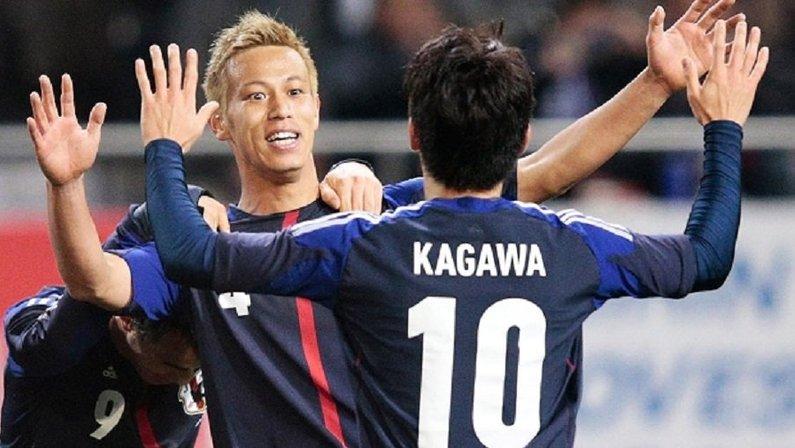 Honda e Kagawa na seleção do Japão