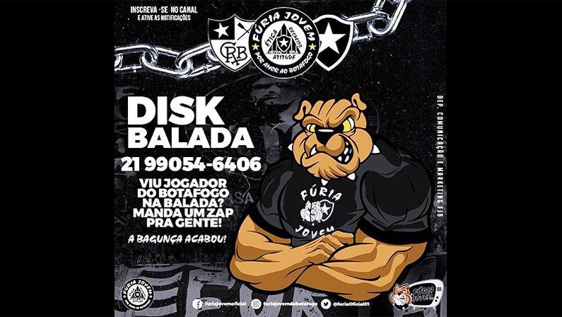 Torcida Fúria Jovem do Botafogo cria disk balada