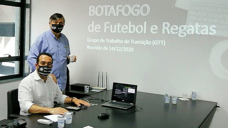André Sousa e Durcesio Mello - reunião do grupo de transição do Botafogo