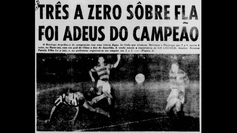 Jornal dos Sports registra Botafogo 3x0 Flamengo pelo Carioca-1961
