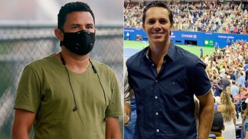 Túlio Lustosa e Marcos Leite, gerente de futebol do Botafogo e empresário de Honda e Kalou