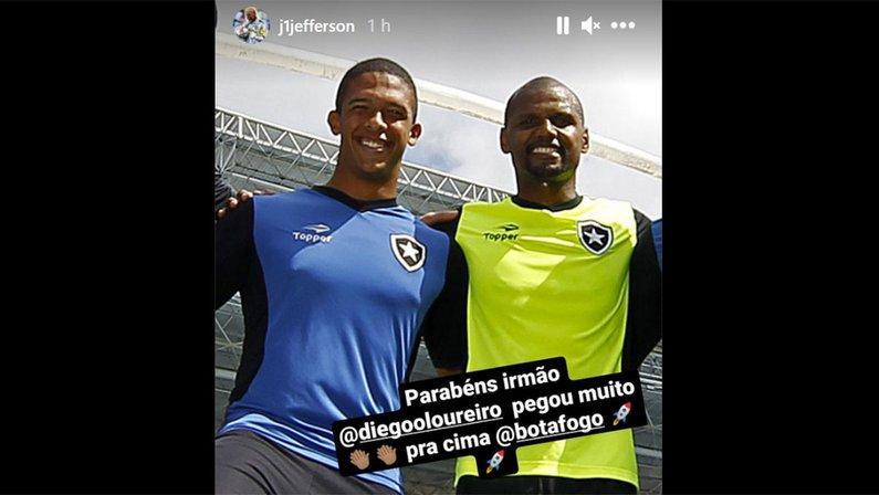 Ídolo do Botafogo, Jefferson parabeniza Diego Loureiro em seu Instagram