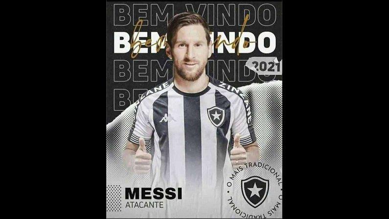 Torcida faz meme com Messi no Botafogo